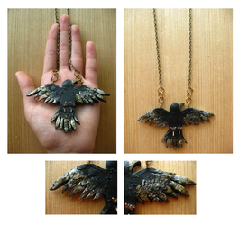 Hanging Blackbird Necklace by Oogeepatogoa
