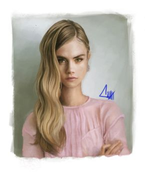 Cara Delevigne digital portrait by CitroenGeel