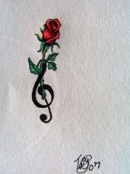 Red rose and treble clef by Nonnyarie