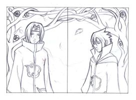 Itachi and Sasuke Uchiha - Sketch by pink-gizzy