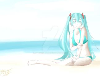 More Playing with Water Color: Hatsune Miku by STRiPES-01