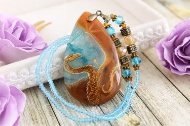 Dragon in the sky II - hand painted stone pendant by LunarFerns