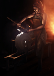 Blacksmith at work by City-of-Zeroes