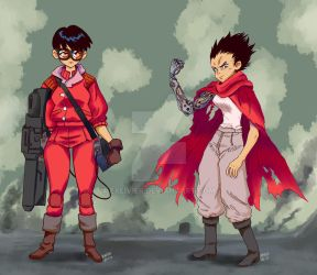 Genderbend akira tetsuo and kaneda by Exeivier