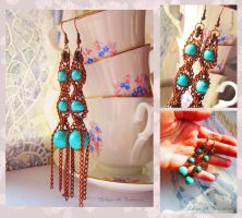 Semi precious Vintage Turquoise Earrings by LilyT-Art