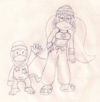Diddy Kong And Tiny by ZeoLightning