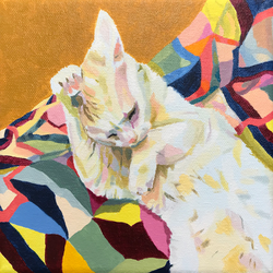 Cat on Quilt by theanimeaxis