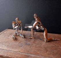 Seven Meets Six (articulated watch parts robots) by AMechanicalMind