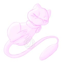 Monochrome Mew Sketch by KeganSlayer