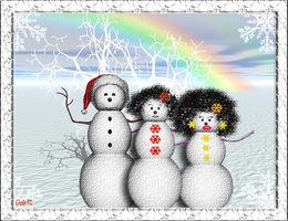 Afro Snowman Family by cordieb
