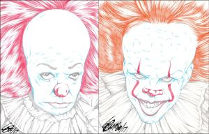 PENNYWISE 1990 AND 2017 PENCIL by ARTofTROY