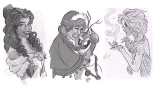 Disney Girls Sketches by artist2point5