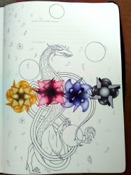 West-East inspired dragon with flowers by suraZcat
