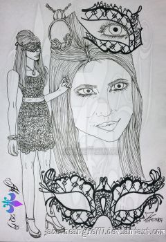 Katherine Pierce Marquerade Drawing -uncolored by JadeTheAngle777