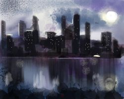 Night skyline by Cliffcaron