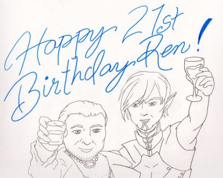 Fenris and Varric raise their glass for Renjility by AbsoluteApril