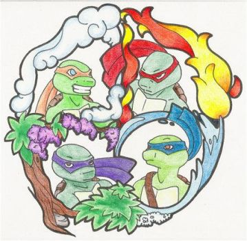 TMNT - Earth Air Fire Water by Rose-Hunter