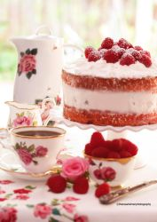 Light and Fluffy Raspberry Cake by theresahelmer