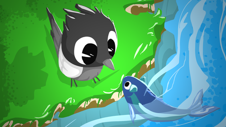 Bird and the catfish 2 [Wallpaper] by ApplexPie2