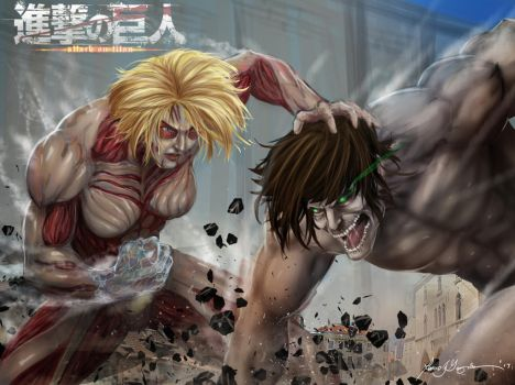 Shingeki no Kyoji attack titan vs Female titan by Grapiqkad