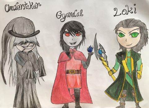 Undertaker, Gyendal and Loki, the chibi three by Queen-of-Ice101