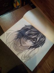 L Lawliet (a better angle). by RedheadedPsychopath