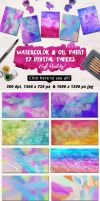 Watercolor Oil Paint Digital Papers Free Download by joyologo