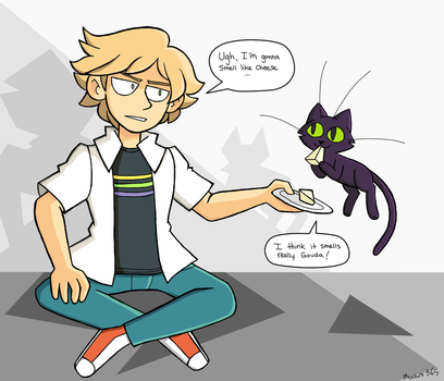 Adrien Agreste and Plagg by mewtwo365