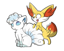 Alolan Vulpix and Fennekin by RociDrawings97