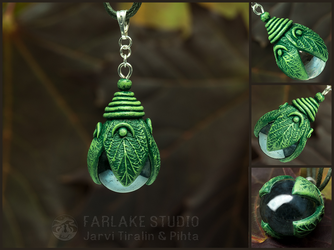 Green elven forest lantern pendant - for sale by JarviTiralin