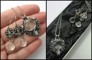 quartz and moonstone set by annie-jewelry