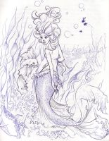 Red Fin Mermaid Sketch by illogan