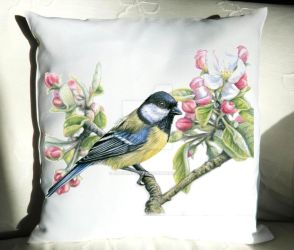 Kohlmeise-Kissen, Pillow Bird in Spring by ArtsandDogs
