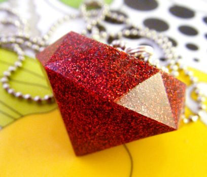 Ruby Red - Resin Necklace by elephont