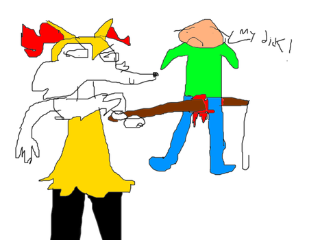 Braixen Stabbing man in the crotch with a fishpole by DickHamachi