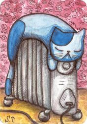 ACEO Warming cat by Siriliya