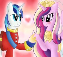Shining Armor and Cadence by pikashoe90