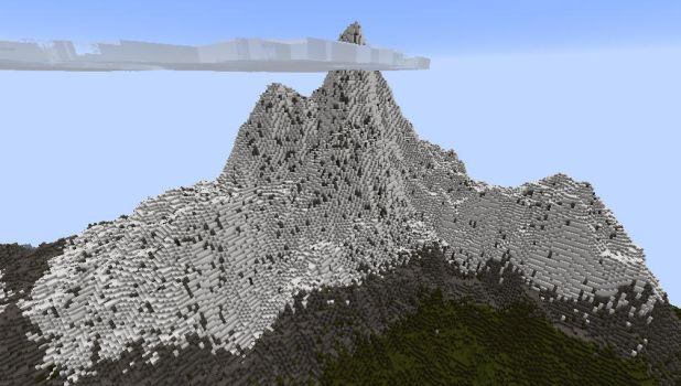 My minecrafted mountain by ibolixx13