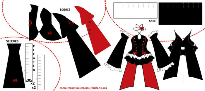 Krul cosplay pattern draft by Hollitaima