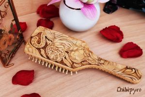 Wooden hairbrush tiger by ChibiPyro