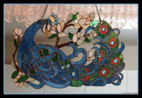 Stained Glass Peacock by lenslady