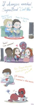 If Avengers watched Super Bowl 'Civil War' by SilasSamle