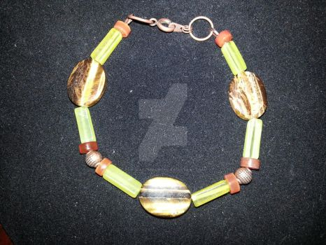 Carnelian, Green Jade and Tiger's Eye Bracelet by TheCraftyMaiden