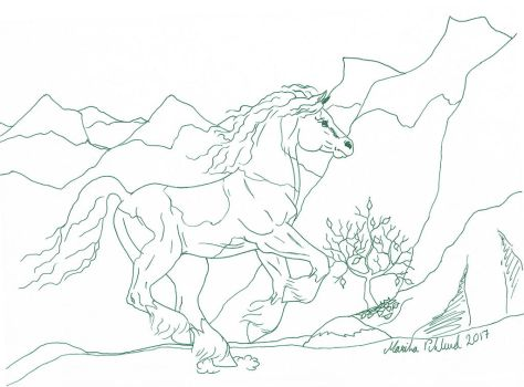 Daily Sketch 17 - Colouring Mountain Horse by YikYik