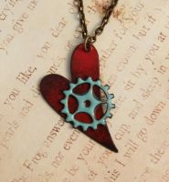 My Metal Heart Enameled Steampunk Necklace by FusedElegance