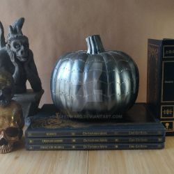 Silver Spiderweb Halloween Pumpkin by Elfedward