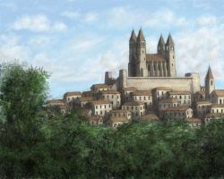 town with cathedral by Serio555