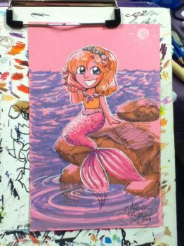 Cute Mermaid commission from SPACE 2014 by alex-heberling