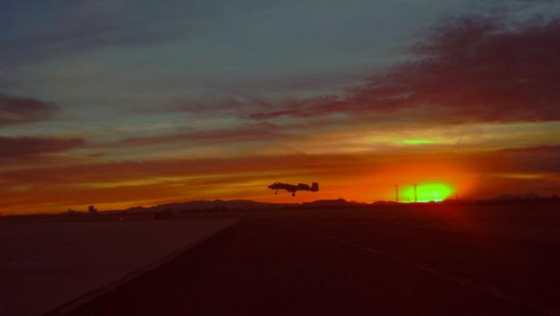 A10 Landing Eor Sunset by featherfoot07