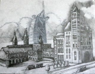 Two Towers-- Pen Sketch by Sel-Diora